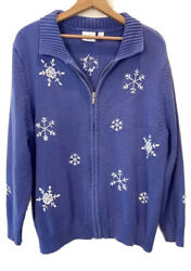 Sonoma Life + Style Purple Snowflake Pullover Zip Cotton Blend Sweater Size 1x
