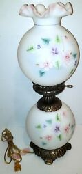Fenton Lamp Floral Flower Burmese Hand Painted By Cahall Vintage Rare