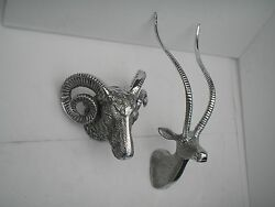 Metal Wall Mounted Stag Head With Ram Head Deer Christmas New Year