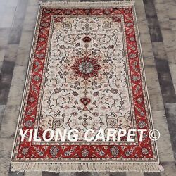 Yilong 3'x5' Authentic Handcraft Carpets Classic Hand Knotted Silk Area Rug J12b
