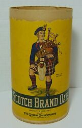 Old Vintage Scotch Brand Rolled Oats 3 Lb Box Container Scottish Bagpipe Player