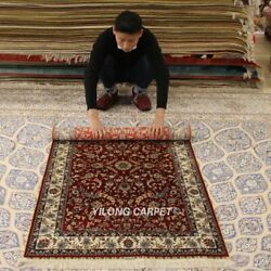 Yilong 3and039x5and039 Red Home Hand-knotted Silk Carpet High Density Tribal Area Rug 291h