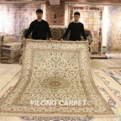 Yilong 6and039x9and039 Beige Hand Knotted Area Rugs Classic Handmade Pure Silk Carpet 324b