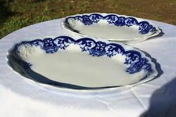 Johnson Brothers Antique Flow Blue Danube 2 Matching Platters 14 1/2 And 12 1/2