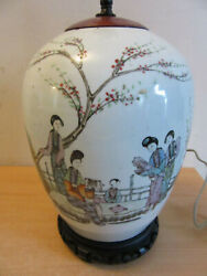 Antique Chinese Porcelain Ginger Jar Lamp Painted Woman Under Tree Signed