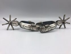 Rare Signed Old Cowboy Mexican Vaquero Spurs Silver Engraved 1880s - 1890s