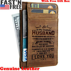 Genuine Leather Engraved Pocket Wallet To My Son Husband Personalized Xmas Gift