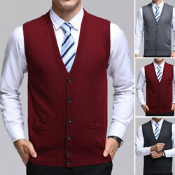 Hommev Neck Stylish Sweater Knitted Cardigan Vest Sleeveless Button Tops Knitwea