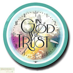 In God We Trust Neon Clock 20 Aluminum Wall Mount Made Usa 1 Year Warranty New