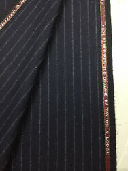 Taylor And Lodge Navy Stripe Wool Lumbs Golden Bale Flannel Suit Fabric. 390g
