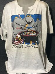 J C Bartlett Vintage 90s T-shirt Shark Barbeque By Trau And Loevner Tnt Men's 2xl