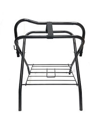 Pony Horse Saddle Rack Stand Folding Storage Metal Black Saddle Tack Stable