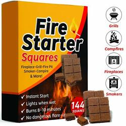 Bangerz Sunz Fire Starter Squares, 144 Starters For Fireplace, Wood Stove Camp