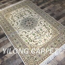 Clearance Yilong 4and039x6and039 Handmade Wool Silk Rug Blanket Woolen Carpets 2056
