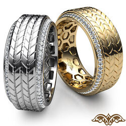 Grooved Tyre Tread Menand039s Diamond Pave Eternity Wedding Gold Band Ring 0.60 Ct.