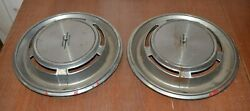 2 Vintage Dog Dish Poverty Hubcaps Aluminum Unresearched Lot Plymouth