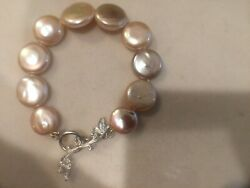 Cathy Carmendy Sterling Silver Japanese Freshwater Coin Pearl Bracelet 7