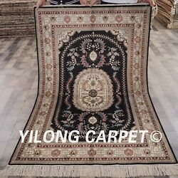Yilong 4and039x6and039 Classic Silk Handmade Area Rug Antique Hand Craft Silk Carpet 066m