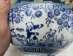 Rare Oriental Blue And White 8 Bowl-and039join The Dotsand039 Pattern Of Dancing Bears -a/f