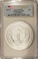 2015 Us Mint Atb Homestead National Park 5 Oz Silver Coin Pcgs Sp70 First Strike
