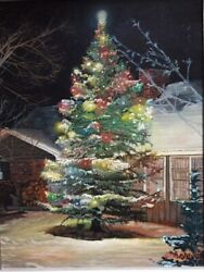 Award-winning painting: The Christmas Tree by Texas late artist Gloria Riddle