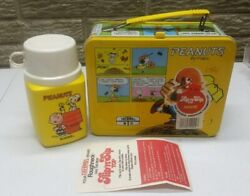 New Vintage Peanuts Metal Lunch Box 1970's W/ Thermos