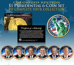 2020-21 Presidential 1 Dollar Coins 2-sided Color 6-coin Set Living Presidents