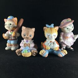 Vintage Bc Bronson Collectibles Cat Porcelain Figurines Baseball Knitting Tabby