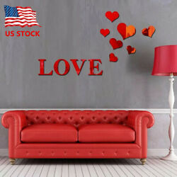 Romantic Love 3D Mirror Wall Stickers Art Decal Removable Home Decoration US