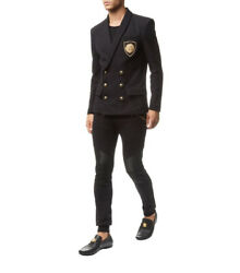 Balmain Double-breasted Jersey Blazer Embroidered 50 Nwt Mens