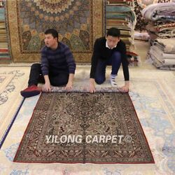 Yilong 4and039x6and039 Old World Hand Knotted Silk Area Rug Antique Handmade Carpet 019b