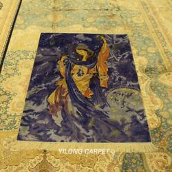 Yilong 3and039x5and039 Goddess Tapestry Silk Handmade Carpet Blue Hand Knotted Rugs 955h