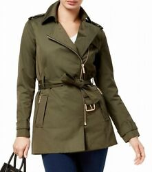 MICHAEL Michael Kors Women's Trench Coat Green Size Large L Belted $150 #560