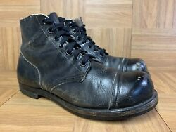 Vntg🔥 Adam Brothers Cap Toe Military Boots 50's-60's Size 10.5 Wide Men's Shoes