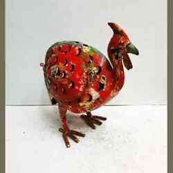 Vintage Solid Metal Handmade Red Turkey Bird Style Candle Stand  Holder #TSH362