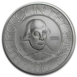 2016 Two Pounds Royal Mint 1oz 999 Silver Coin - Shakespeare 400th Anniv.