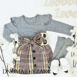 DNOMAID YZARC Toddler Baby Girl Winter Clothes Set Tops + Mini Skirt Outfits