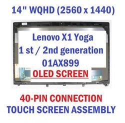 New 14.0 Wqhd Oled Touch Screen Assembly And Frame For Ibm Lenovo Fru 01ax899