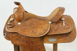 Vintage Hand Tooled Circle Y Western Show Saddle 16in Seat