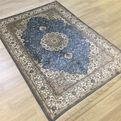 Yilong 4'x6' Classic Handmade Carpet Blue Home Hand Knotted Silk Area Rug 193a