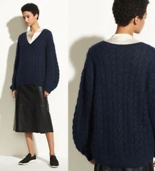 Vince Cable Knit V-neck Alpaca Mohair Blend Oversized Sweater In Navy Sz S 385