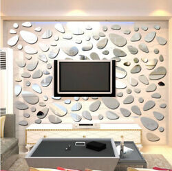3D Wall Sticker Removable Mirror Cobblestone Shape Wall Decals Modern Home Decor