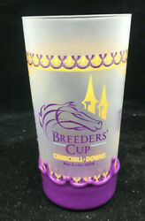 Coffee Mug Glass Breeder's Cup Chruchill Downs Horses Horse Frosted Purple Base