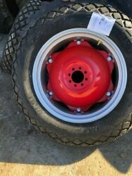 Two 12.4x28 12.4-28 8ply Turf Tires W/wheel And Red Center - Massy Ferguson 50 -