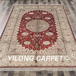 Yilong 6and039x9and039 Vintage Home Hand Knotted Area Rug Great Handmade Silk Carpet Y76b