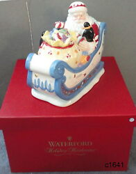 Waterford Holiday Heirlooms North Pole Sleigh Ride Musical Cookie Jar-new In Box