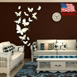 Shiny Butterfly 3D Mirror Wall Sticker Wall Decals Removable Modern Home Decor