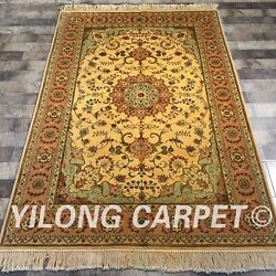 Clearance Yilong 4and039x6and039 Golden Handmade Wool Rug Handknotted Woolen Carpet 2094