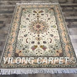 Clearance Yilong 4and039x6and039 Flower Handmade Wool Rug Hand-knotted Woolen Carpet 2095