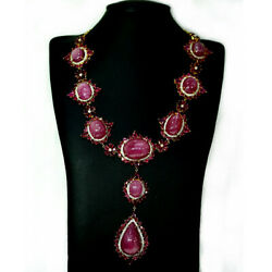 Antique Natural Big Size Pink Red Ruby Cambodian Zircon Necklace 21 925silver